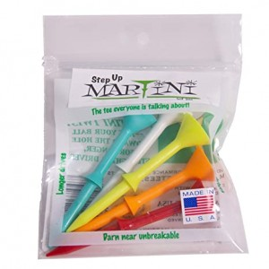 "Martini Golf 3-1/4"" Durable Plastic Tees 5-Pack (Assorted Colors)"